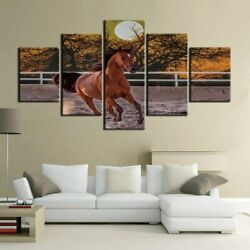 5 Panel Framed Running Brown Horse Animal Canvas Picture Wall Art Hd Print Decor