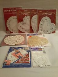 8 Packs Of Vintage Paper Doilies, Round And Heart Shaped, Pink, White And Gold