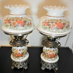 Pair Hurricane Lamps Quoizel Rust Rose Pattern 3 Way Vintage Table Lamps