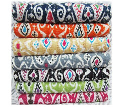 Jaipuri Kantha Bed Cover Ikat Print Quilt Queen Size Indian Handmade Bed Cover