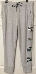 Nwt Victoria's Secret Pink Large Gray Camouflage Camo Bling Skinny Jogger Pants
