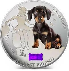 Fiji 2013 2 My Best Friend Ii Dachshund Dogs And Cats 1oz Silver Coin