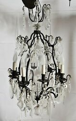 Antique Louis XV Style Wrought Iron and Crystal Chandelier 35quot; x 18 1 2quot; Vintage