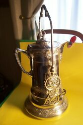 Antique Ornate Victorian S/p.meriden 1870and039s Tilting Water Pitcher On Standl-f5