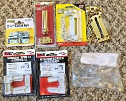 Lot Of Door Bolts, Chain Guards, Screen Repair, Cord Windups Safety Security B6