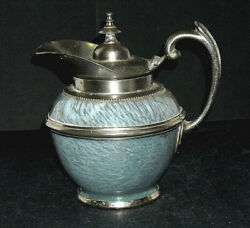 Early Pewter-trimmed Grey Graniteware Syrup Pitcher Enamel Ware 1890 - 1905