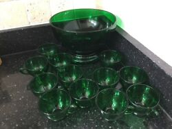 New Old Stock Anchor Hocking Emerald Forest Green Punch Bowl With Stand 12 Cups
