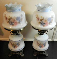 Pair Vintage White And Blue Hurricane Lamps Floral Design 3 Way Table Lamps