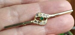 Brooch With Natural Emerald +8 Zircons. High Jewelry 50-60 Years. Vintage.