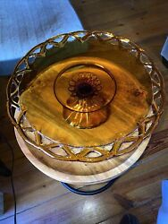 Vintage Large 14 Amber Glass Pedestal Cake Plate With Open Lace Edge