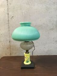 Antique Victorian Lamp, Porcelain And Glass Base, Green Ribbed Shade, Electrified