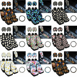 Floral Car Front Rear Seat Cover For Women Auto Accessory 9pc Set Fashion Cocers