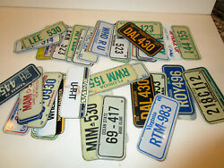 Lot Of 4 Post Cereal / Wheaties Mini Bike State Metal License Plate Tag Sign