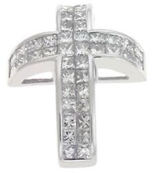 1.10ct Diamond 14kt White Gold Princess Invisible 2 Row Cross Floating Pendant