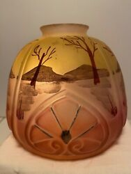 Vintage Iridescent Small Glass Lamp Shade In Peach And Peridot Pre-owned