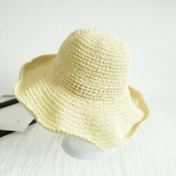 Summer Ladies Sun Beach Straw Hat Floppy Foldable Wide Brim Women Garden Gift US $9.90