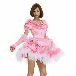 Sissy Girl Maid Pink Blue Lockable Puffy Dress Cosplay Costume Tailor-made