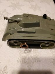 Vintage Marx Tin Wind-up Army Tank Plastic Top Sherman Ma1 With Treads