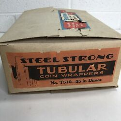 Vintage Steel Strong Tubular Coin Wrappers 5 In Dimes No. T510 Box