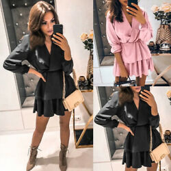 Women V Neck Long Sleeve Lace Causal Ruffle Mini Dress Evening Cocktail Party US $10.99