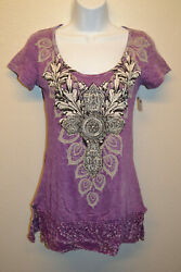 Womens Vocal MEDIUM T Shirt Pink Short Sleeve Lace Hem Rhinestones Cross Juniors $39.95