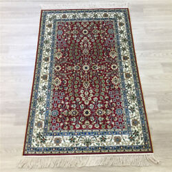 Yilong 2.5'x4' Handwoven Silk Red Carpet Home Interior Traditional Rug Y168a