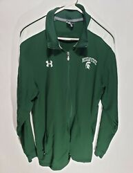 Men's Under Armour Michigan State Spartans Full Zip Green Warm Up Jacket Size Lg