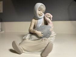 Lladro Vintage And Rare 1965 Old Mark Retired Girl With Turkey Thanksgiving
