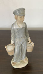 Vintage Lladro 4811 Boy Carrying Water Or Milk Buckets Has Been Repaired
