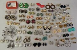 Vintage Clip Earring Estate Costume Jewelry Lot 80 Pair - Chunky, Signed, Retro