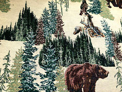 74 Yard Vintage Tapestry Upholstery Fabric Bear In Forest High Quality Rustic