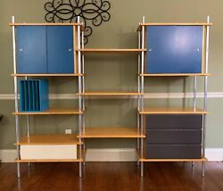 Vtg Mcm Penn State Professor Lacquered Wall Divider Record Storage Cabinet Unit
