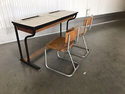 Mid Century Modern Vintage Double School Desk And 2 Chairs European 1950's