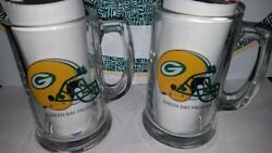 Green Bay Packers Vintage Glass Mugs New