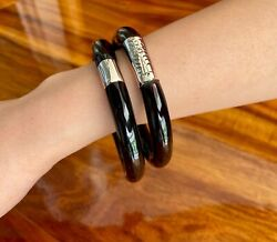 Antique Hawaiian Black Coral And Sterling Silver Bangle Bracelet Set 7.5 And 7.75
