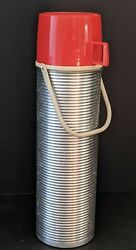 Thermos Co King Seeley Norwich Conn Usa 1970's Bottle 2484 Red Silver 13 1/2