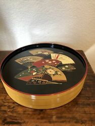 Japanese Round 12andrdquo Lacquer Box Fans