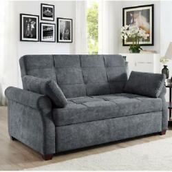 Luxury Queen Size Sofa Bed Pull Out Sleeper Futon Lounger Convertible Couch Gray