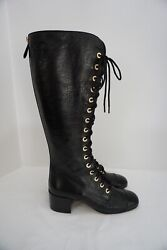 Black Leather Lace Up High Over The Knee Corset Boots 40.5
