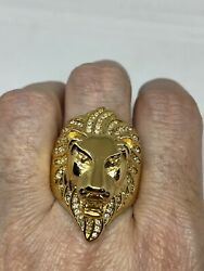 Vintage Lion Ring Golden Stainless Steel Mens Size 10