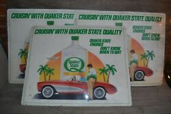 Vintage Quaker State Motor Oil Advertising Signs Shop Counter Mats Lot Of 3