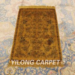 Yilong 2.5'x4' Antique Handknotted Silk Area Rug Vintage Gold Carpet 186a