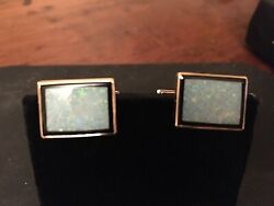 14k Yellow Gold Larter And Sons Opal And Onyx Cuff Links