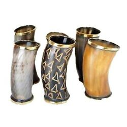 Drinking Horn Cups Mugs Chalice For Beer Wine Mead Set Of 6 Ceremonial Designer
