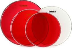 Evans Hydraulic Red 4-piece Tom Pack - 12/13/16 Inch With Free 14 Inch Uv1