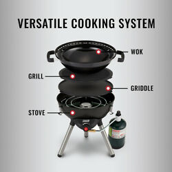 Barbeque Grill Bbq Wok Propane Gas Portable Tabletop Camping Outdoor Black Steel
