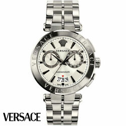 Versace Ve1d00319 Aion Chronograph Silver Stainless Steel Menand039s Watch New