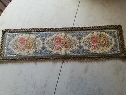 Antique Embroidered Table Dresser Runner With Gold Colour Braid Trim Floral