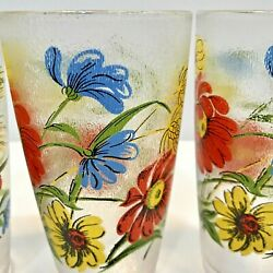 Set Of 4 H J Stotter Acrylic Frosted Mcm Floral Tumblers/cups Made In Ny, Usa