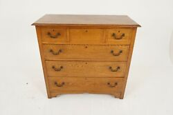 Antique Arts And Crafts Inlaid Oak Dresser Chest Of Drawers Scotland 1910 B2170